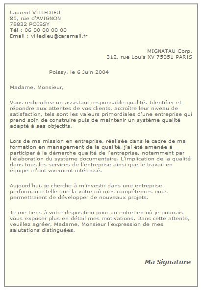 lettre de stage