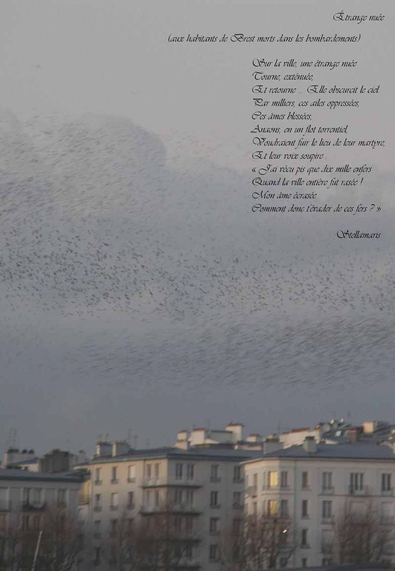 Sur la ville, une étrange nuée / Tourne, exténuée, / Et retourne ... Elle obscurcit le ciel. / Par milliers, ces ailes oppressées, / Ces âmes blessées, / Anaons, en un flot torrentiel, / Voudraient fuir le lieu de leur martyre, / Et leur voix soupire : « J'ai vécu pis que dix mille enfers / Quand la ville entière fut rasée ! / Mon âme écrasée, / Comment donc t'évader de ces fers ? »